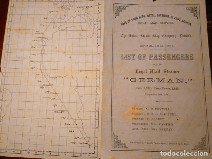 THE UNION STEAM SHIP CO.LTD. LISTA DE PASAGEROS DEL RMS GERMAN E ITINERARIO, 1877 (Coleccionismo - Líneas de Navegación)