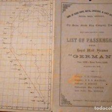 Líneas de navegación: THE UNION STEAM SHIP CO.LTD. LISTA DE PASAGEROS DEL RMS GERMAN E ITINERARIO, 1877. Lote 76913871