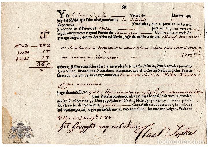 CONOCIMIENTO DE EMBARQUE - BILBAO - AMSTERDAN - LANA LAVADA Y 6772 LIBRAS NETAS - FECHADO EN 1786 (Coleccionismo - Líneas de Navegación)