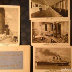 Líneas de navegación: PAQUEBOT PARIS 1916-39 COMPAGNIE GENERALE TRASATLANTIQUE CARPETA 9 POSTALES BARCO BUQUE. Lote 77889041
