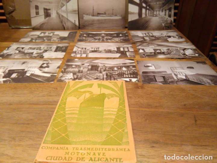 CIUDAD DE ALICANTE COMPAÑÍA TRASMEDITERRANEA CARPETA 12 POSTALES CA 1931-50 BARCO BUQUE (Coleccionismo - Líneas de Navegación)