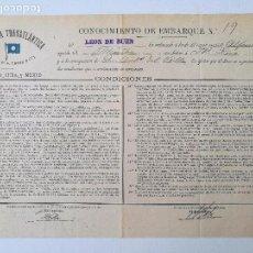 Líneas de navegación: COMPAÑIA TRASATLANTICA, CONOCIMIENTO DE EMBARQUE 1895. Lote 80096689
