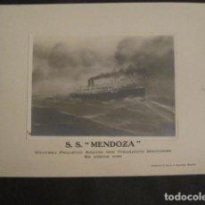 Líneas de navegación: FOTOGRAFIA -S.S. MENDOZA -NOUVEAU PAQUEBOT RAPIDE TRANSPORTS MARITIMES -VER FOTOS -(V-10.244). Lote 81814944