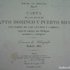 Líneas de navegación: CARTA NAÚTICA DE NAVEGACIÓN SIGLO XIX PUERTO RICO SANTO DOMINGO. Lote 87168856