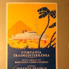 Líneas de navegación: M/N INFANTA BEATRIZ COMPAÑIA TRASMEDITERRANEA VIAJE INAUGURAL 15 MARZO 1928 13,1 CM X 21,7 CM. Lote 89655236