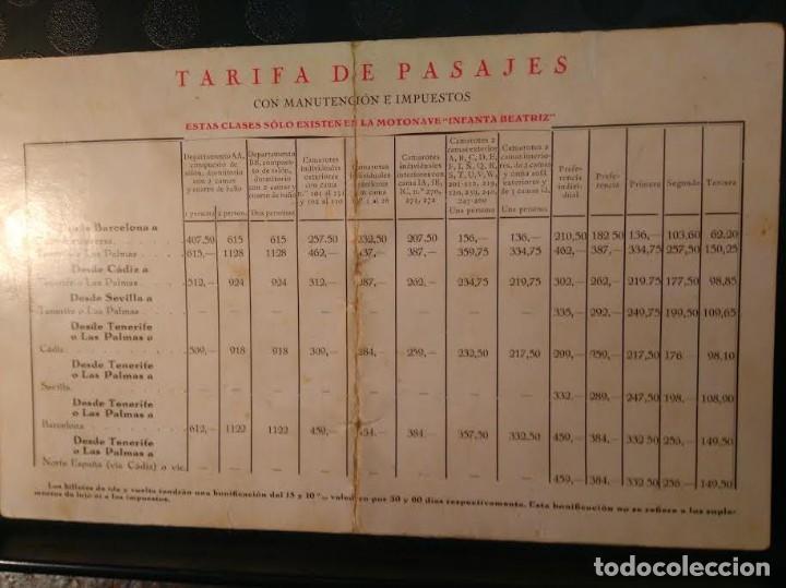 Líneas de navegación: M/N Infanta Beatriz Compañia Trasmediterranea viaje inaugural 15 Marzo 1928 13,1 cm x 21,7 cm - Foto 2 - 89655236