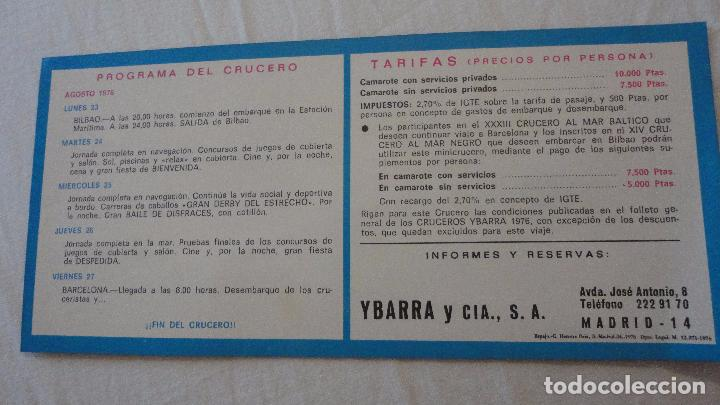 Líneas de navegación: ANTIGUO PROGRAMA.TARIFAS.MINICRUCERO.CABO SAN ROQUE.YBARRA.BILBAO-BARCELONA.1976 - Foto 2 - 90685415