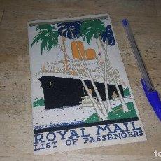 Líneas de navegación: ROYAL MAIL, LIST OF PASSENGERS, 1935. Lote 93997555