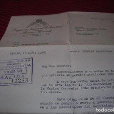 Líneas de navegación: CARTA EMPRESA NACIONAL ELCANO DE LA MARINA MERCANTE.AÑO 1961. Lote 94579331