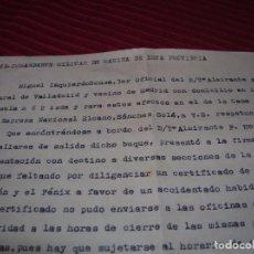 Líneas de navegación: CARTA SR.COMANDANTE MILITAR DE ESTA PROVINCIA.CARTAGENA, AÑO 1957. Lote 94579939