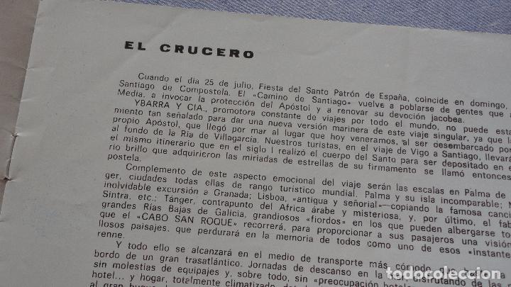 Líneas de navegación: FOLLETOS.CRUCERO SANTIAGO COMPOSTELA.RIAS GALLEGAS.TRASATLANTICO.CABO SAN ROQUE.YBARRA.1965 - Foto 4 - 94959207
