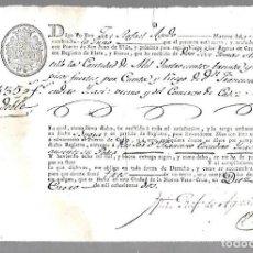 Líneas de navegación: DOCUMENTO DE EMBARQUE. FRAGATA. LA TUNA. DEL PUERTO DE SAN JUAN DE ULUA A CADIZ. 1802. LEER. Lote 97830187