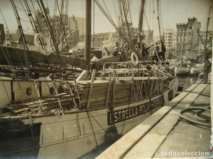 Líneas de navegación: 1950 BARCO ESTRELLA POLAR ATRACADO EN CORUÑA 4 FOTOS 17X23cm. - Foto 5 - 97832440