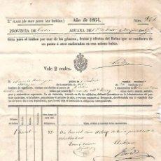 Líneas de navegación: 1864. DOCUMENTO DE EMBARQUE. DE EL PUERTO DE SANTA MARIA A CADIZ. BODEGAS TERRY.. Lote 97902199