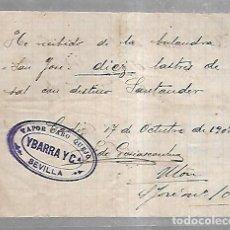 Líneas de navegación: COMPAÑIA IBARRA. VAPOR CABO QUEJO. RECIBI DE LASTRE DE SAL DESTINO SANTANDER. 1903. Lote 98369623