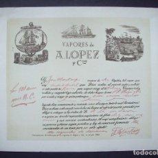 Líneas de navegación: DOCUMENTO DEL AÑO 1951 . PUBLICIDAD COMPAÑIA TRASATLANTICA . VAPORES A. LOPEZ. Lote 98962391