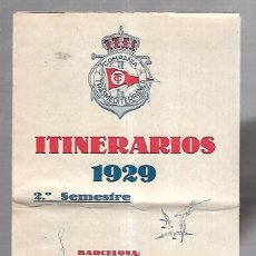 Líneas de navegación: COMPAÑIA TRASMEDITERRANEA. ITINERARIOS 1929. LINEAS DE SERVICIO Y TARIFAS. VER. Lote 100509999