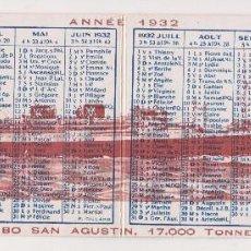 Líneas de navegación: CABO SAN AGUSTIN, 17,000 TONELADAS - CIA YBARRA - AÑO 1932 - PUBLICIDAD Y CALENDARIO 1932. Lote 100645171