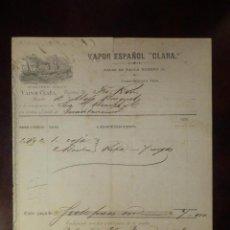 Líneas de navegación: ANTIGUO DOCUMENTO - VAPOR ESPAÑOL CLARA - CONSIGNACION AL PUERTO DE GUANTÁNAMO - MARZO 1878. Lote 101239503