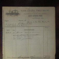 Líneas de navegación: ANTIGUO DOCUMENTO - VAPOR ESPAÑOL TOMAS BROOKS - CONSIGNACION AL PUERTO DE CAINAMERA - CUBA - 1878. Lote 101239743
