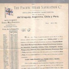Líneas de navegación: THE PACIFIC STEAM NAVIGATION Cº. 1904. VAPOR ORELLANA. LEER. 27 X 21CM. Lote 101972107