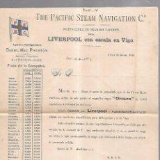 Líneas de navegación: THE PACIFIC STEAM NAVIGATION Cº. 1904. VAPOR ORCANA. LEER. 27 X 21CM. Lote 101972191