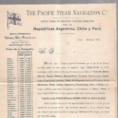 Líneas de navegación: THE PACIFIC STEAM NAVIGATION Cº. 1904. VAPOR GALICIA. LEER. 27 X 21CM. Lote 101972211