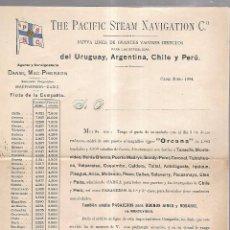 Líneas de navegación: THE PACIFIC STEAM NAVIGATION Cº. 1904. VAPOR ORCANA. LEER. 27 X 21CM. Lote 101972307