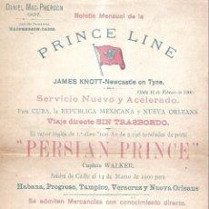 Líneas de navegación: PRINCE LINE. VAPOR INGLES PERSIAN PRINCE. CADIZ. 1900. MEDIDAS: 21 X31CM. Lote 101972511