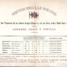 Líneas de navegación: VAPORES DE LA LINEA ANGLO-HISPANA ENTRE LONDRES, CADIZ Y SEVILLA. 28 X 21CM. Lote 101972603