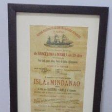 Líneas de navegación: CARTEL. VAPORES DE LA COMPAÑIA GENERAL DE TABACOS DE FILIPINAS. 32 X 24CM ENMARCADO. 1882. VER. Lote 103043307