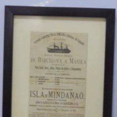 Líneas de navegación: CARTEL. VAPORES DE LA COMPAÑIA GENERAL DE TABACOS DE FILIPINAS. 32 X 24CM ENMARCADO. 1883. VER. Lote 103043355