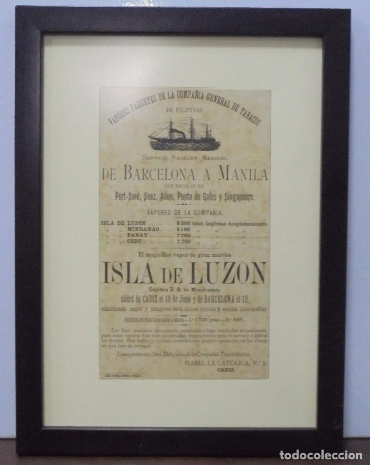 CARTEL. VAPORES DE LA COMPAÑIA GENERAL DE TABACOS DE FILIPINAS. 32 X 24CM ENMARCADO. 1883. VER (Coleccionismo - Líneas de Navegación)