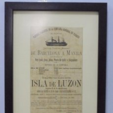 Líneas de navegación: CARTEL. VAPORES DE LA COMPAÑIA GENERAL DE TABACOS DE FILIPINAS. 32 X 24CM ENMARCADO. 1883. VER. Lote 103043399