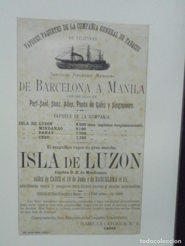 Líneas de navegación: CARTEL. VAPORES DE LA COMPAÑIA GENERAL DE TABACOS DE FILIPINAS. 32 X 24CM ENMARCADO. 1883. VER - Foto 2 - 103043399