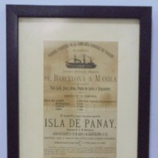 Líneas de navegación: CARTEL. VAPORES DE LA COMPAÑIA GENERAL DE TABACOS DE FILIPINAS. 32 X 24CM ENMARCADO. 1883. VER. Lote 103043423