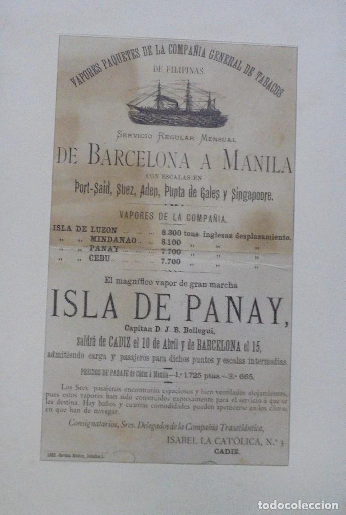 Líneas de navegación: CARTEL. VAPORES DE LA COMPAÑIA GENERAL DE TABACOS DE FILIPINAS. 32 X 24CM ENMARCADO. 1883. VER - Foto 2 - 103043423