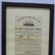 Líneas de navegación: CARTEL. VAPORES DE LA COMPAÑIA GENERAL DE TABACOS DE FILIPINAS. 32 X 24CM ENMARCADO. 1883. VER. Lote 103043447
