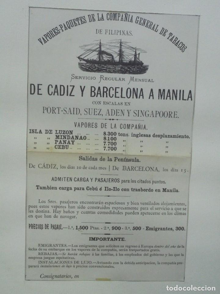 Líneas de navegación: CARTEL. VAPORES DE LA COMPAÑIA GENERAL DE TABACOS DE FILIPINAS. 32 X 24CM ENMARCADO. 1883. VER - Foto 2 - 103043447