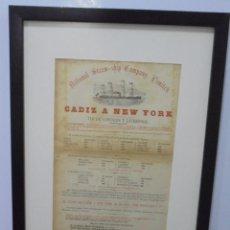 Líneas de navegación: CARTEL. NATIONAL STEAM SHIP COMPANY LIMITED. 32 X 42CM ENMARCADO. CADIZ - NEW YORK. VER. Lote 103043519