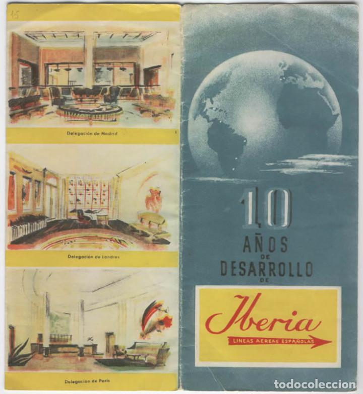 FOLLETO AVIACION AEROLINEA IBERIA 10 AÑOS DE DESAROLLO 1953 DATOS (Coleccionismo - Líneas de Navegación)