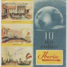 Líneas de navegación: FOLLETO AVIACION AEROLINEA IBERIA 10 AÑOS DE DESAROLLO 1953 DATOS. Lote 103046243