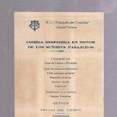 Líneas de navegación: MARQUES DE COMILLAS. COMPAÑIA TRASATLANTICA. MENU DE TURISTA. 1946. COMIDA DESPEDIDA DE PASAJEROS. Lote 104119651