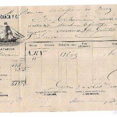 Líneas de navegación: MARINA, MECHACA Y CIA. CONOCIMIENTO EMBARQUE. VAPOR HERNANI. DE GIJON A BONANZA. CON BOTELLAS. 1885. Lote 104254599