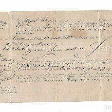 Líneas de navegación: CONOCIMIENTO DE EMBARQUE. DE MALAGA A SEVILLA. 1853. CON HIERRO. Lote 104590743