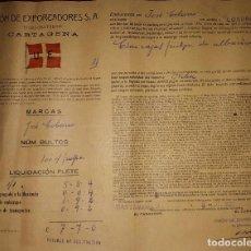 Líneas de navegación: UNION DE EXPORTADORES CONSIGNATARIOS DE CARTAGENA CONOCIMIENTO DE EMBARQUE 1927 MURCIA. Lote 106599759