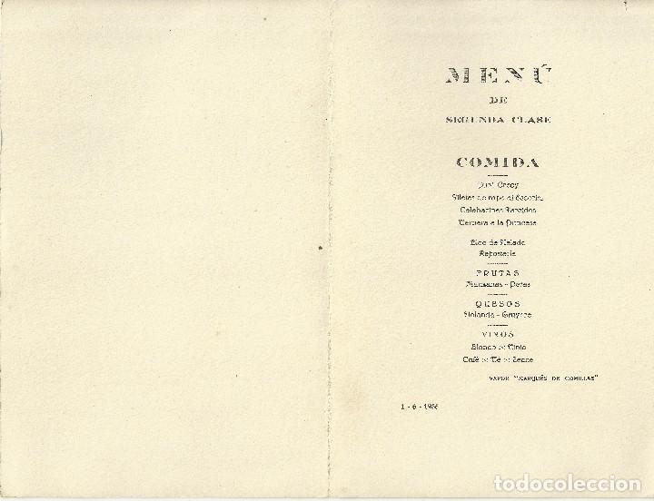 Líneas de navegación: Vapor Marqués De Comillas - Menú De Segunda Clase / Compañía Trasatlantica Española 1936 - Foto 2 - 107136559