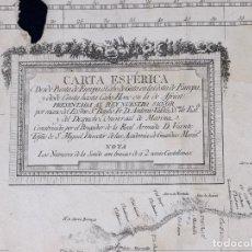 Líneas de navegación: CARTA ESFERICA DESDE PUNTA EUROPA A CABO DE GATA Y DESDE CEUTA HASTA CABO HONE, SIGLO XIX. Lote 111769131