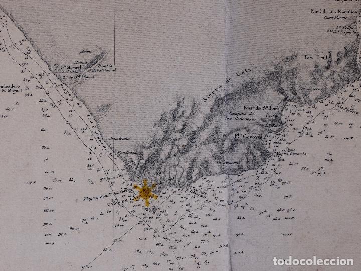 CARTA NAUTICA DESDE ROQUETAS HASTA TORRE DE LA MESA, 1876 (Coleccionismo - Líneas de Navegación)
