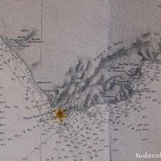 Líneas de navegación: CARTA NAUTICA DESDE ROQUETAS HASTA TORRE DE LA MESA, 1876. Lote 111770623